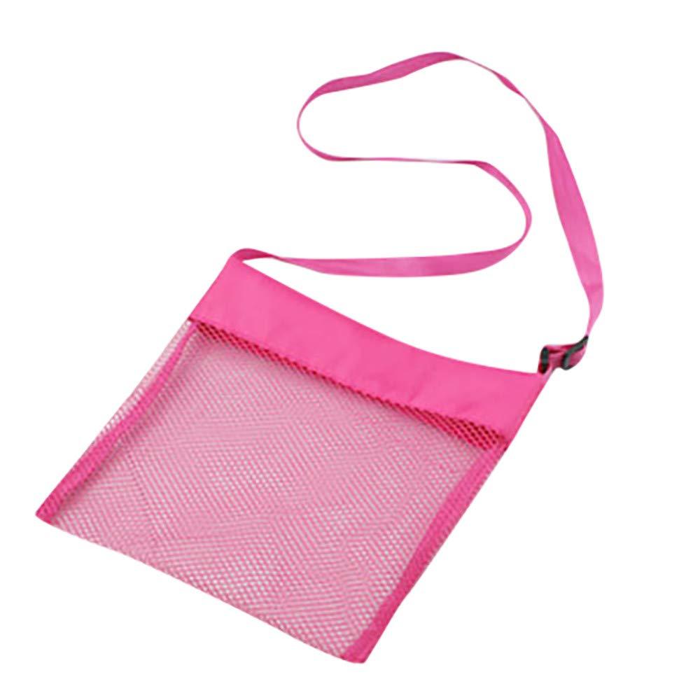 ❤️ Mealeaf ❤️ Beach Mesh Bag Pouch Kid's Children's Fun Toys Sea Shell Storage Bag Beach Fun(Hot Pink,)