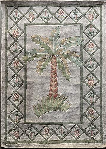 Carpet King Palm Tree Tropical Handmade Tufted Area Rug Green Taupe Rust Beige Design 5 Feet X 7 Feet