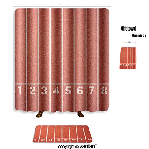 vanfan bath sets with Polyester rugs and shower curtain running track texture with lane numbers 29073 shower curtains sets bathroom 40 x 72 inches&23.6 x 15.7 inches(Free 1 towel and - Number Urban Order Outfitters