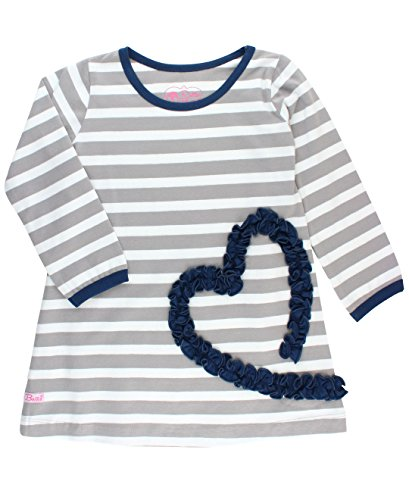RuffleButts Baby/Toddler Girls Gray Stripe Ruffled Heart Dress - - Happiness Gray Stripes