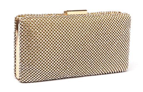 estone Evening Clutch Bag Wedding Purse Bridal Prom Handbag Party Bag. (#A - Gold) (Gold Link Bag)