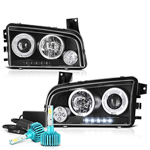VIPMOTOZ LED Halo Ring Projector Headlights For 2006-2010 Dodge Charger - [Built-In Color-Changing RGB LED Low Beam] - Matte Black Housing, Driver and Passenger Side