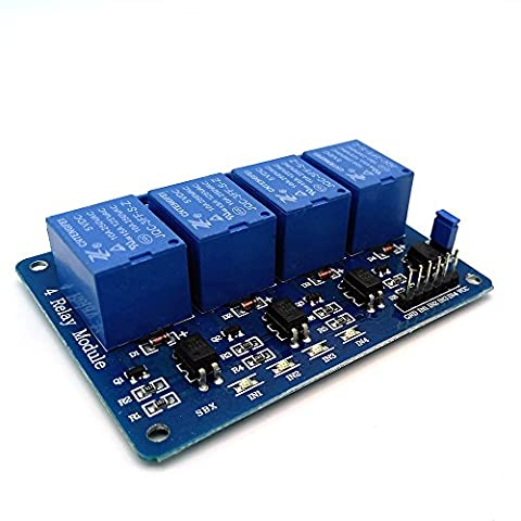 Amadget 4 Channel DC 5V Relay Module with Optocoupler for Arduino Raspberry Pi DSP AVR PIC ARM - Four Channel Module