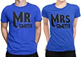 Mr Mrs Customized Lastname Married Couple Matching T-shirt Honeymoon valentines Men X-Large / Women Medium | Royal Blue - Royal Blue