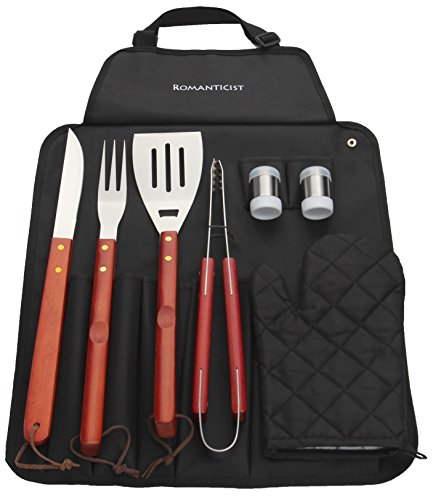 8-Pcs-Stainless-Steel-BBQ-Grill-Tool-Set-with-Hard-Wood-Handle-in-Fold-n-Snap-Apron-Storage-Outdoor-Barbecue-Grill-Accessories-Kit-Set-for-Men-with-Gift-Package-by-ROMANTICIST