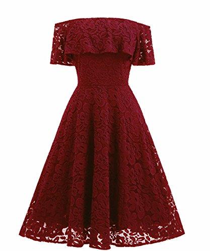 XIU*RONG Vestido De Encaje Con Un Hombro Vestidos De Péndulo Grande Claret