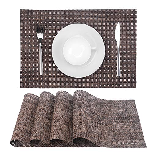 Zupro Placemats, Heat-Resistant Placemats Stain Resistant Anti-Skid Washable PVC Table Mats Woven Vinyl Placemats, Set of 4(4pcs placemats,Coffee)