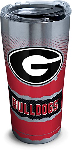 ia Bulldogs Knockout Stainless Steel Tumbler with Clear and Black Hammer Lid 20oz, Silver ()