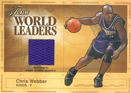 Chris Webber player worn jersey patch basketball card (Sacramento Kings) 2003 Fleer Flair World Leaders #WLCW