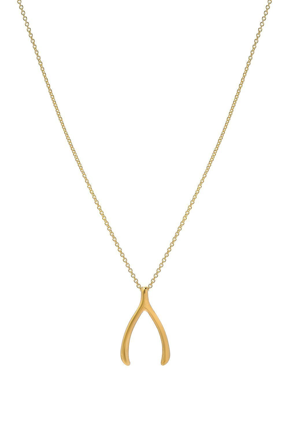 14k solid gold wishbone necklace