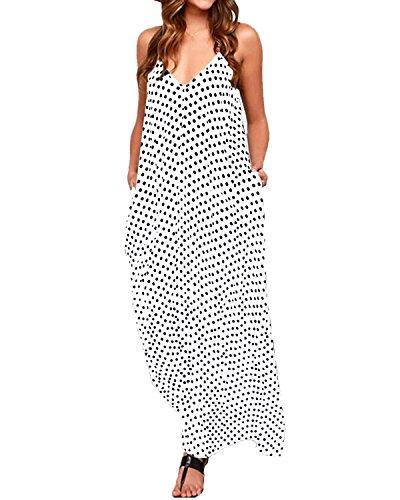 ZANZEA Womens Polka Dot Maxi Dress Casual Summer Sundress Long Boho Beach Dress Plus Size 01 White US 16