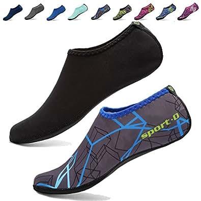 CIOR 3rd Upgraded Version Durable Sole Barefoot Water Skin Shoes Aqua Socks For Beach Pool Sand Swim Surf Yoga Water Aerobics,shs03,black,L