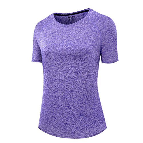 Small Workout Tops (Thabit Women's Workout Shirts, Moisture Wicking Short Sleeve Tops (Small, Violet))