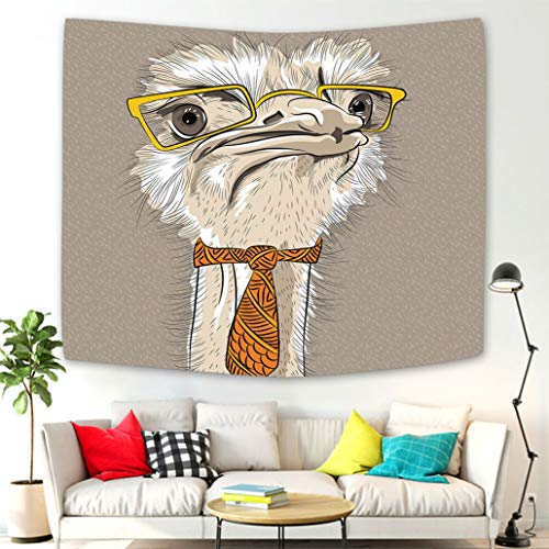 - Creative Design Tapestry Wall Hanging Indie Sketch Portrait of Funny Modern Ostrich Bird with Yellow Eyeglasses and Tie Taupe Beige Yellow Tapestries Wall Art Decoration for Living Room Bedroom