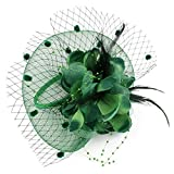 Song Fancy Elegant Lady Top Net Mesh Flower Headpiece Veil Feather Fascinator Hat Hair Clip for Wedding Church Party Green