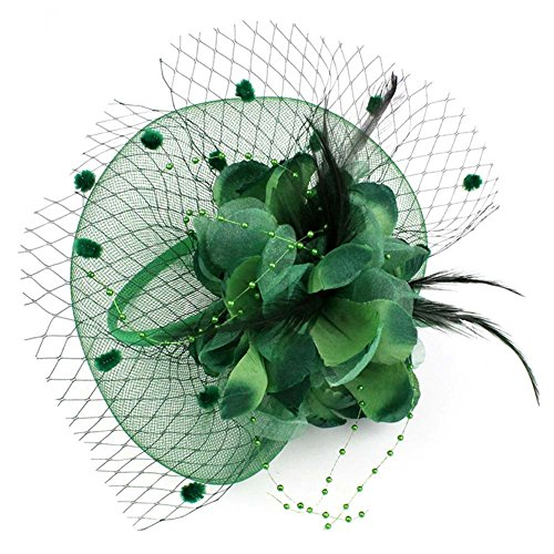 Auranso Derby Netting Mesh Headband Feather Big Flowers Hair Band Tea Party Girls Women Wedding Bridal Fascinator Hat Deep Green -