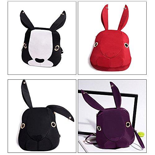 Minetom Lona Backpack Mochilas Escolares Mochila Escolar Casual Bolsa Viaje Moda Conejo Forma Linda Mujer Negro