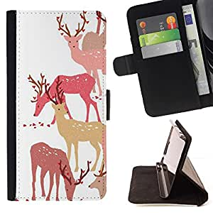 Momo Phone Case / Flip Funda de Cuero Case Cover - Ciervo Bosque Art Otoño Paquete Animal - Huawei Ascend P8 (Not for P8 Lite)