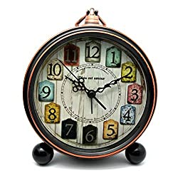 XSHION Small Alarm Clock European Style Vintage Desktop Clock with Metal Hanger Silent Non Ticking Battery Operated 5.35×6.69×1.81 Inches