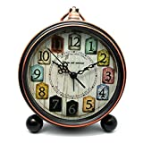 Alarm Clock, Lingxuinfo 5.5'' Vintage Retro Alarm Clock Bedside Table Desk Alarm Clock Non Ticking, Battery Operated Loud Clock
