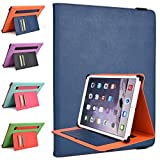 Kroo Sony Vaio Tap 11 11.6-Inch Rotating 2016 Tablet Cases | Ink Blue/Orange Portrait or Landscape Orientation 360 Stand Cover