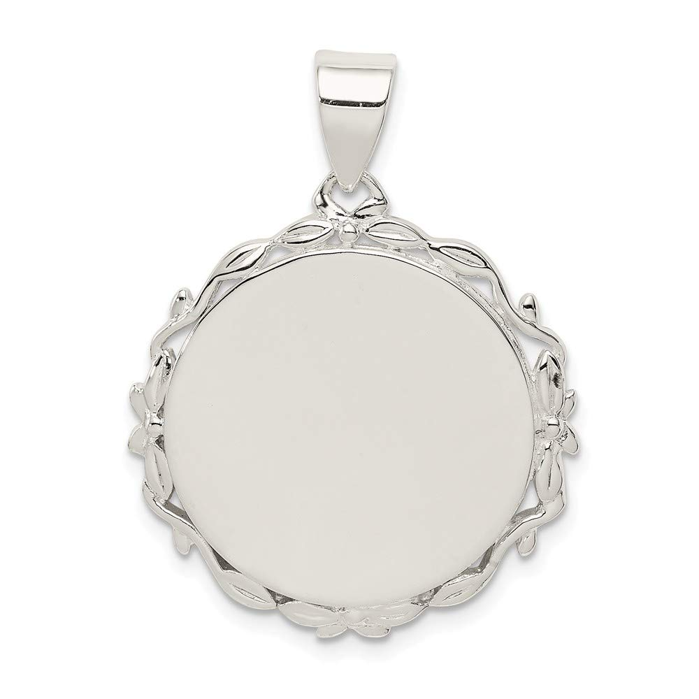 FB Jewels Solid 925 Sterling Silver Fancy Round Pendant