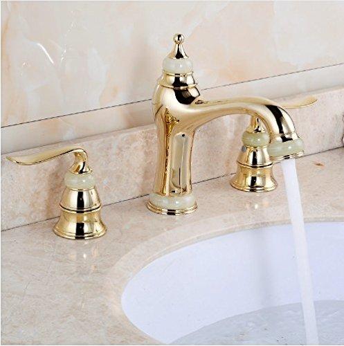 Gowe 3Pcs Jade&Brass Deck Mounted Bathroom Tap Basin Faucet Sink or Bathtub Faucet Double handles Faucet Golden/RoseORB 0