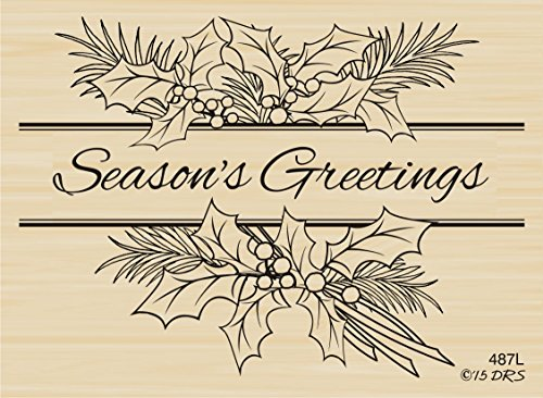 Season's Greetings Holly Spray Rubber Stamp By DRS (Seasons Greetings Holly)