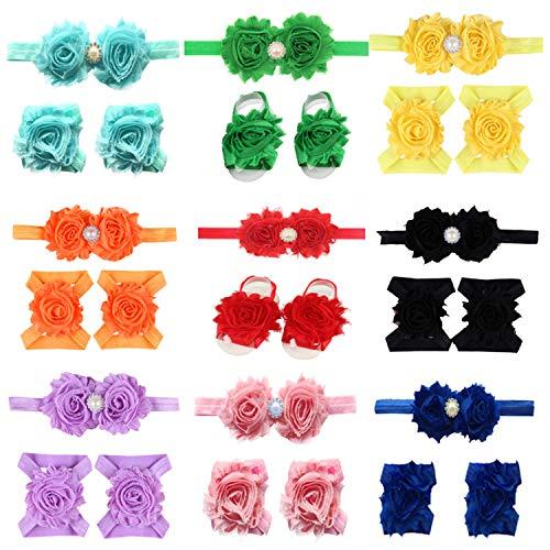 (LD DRESS Baby Girl Foot Flower + Headband (Z1))