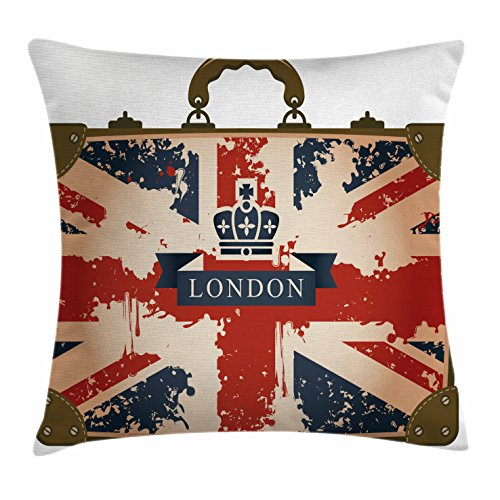 Union Jack Throw Pillow Cushion Cover by Ambesonne, Vintage Travel Suitcase with British Flag London Ribbon and Crown Image, Decorative Square Accent Pillow Case, 26 X 26 Inches, Dark Blue - Store Square Union