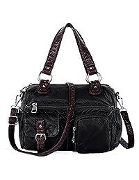UTO Women Handbag Medium Purse PU Washed Leather Blet Pocket Shoulder Bag