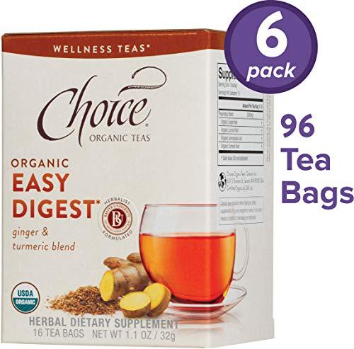 Choice Organic Teas Wellness Teas, 6 Boxes of 16 (96 Tea Bags), Easy Digest
