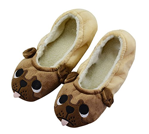 LA PLAGE Kid's Women's Winter Warm Plush Animal Cartoon Home Ballerina Slippers