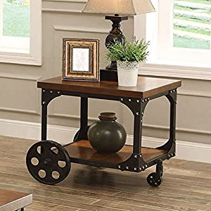 Coaster Furniture Wood End Table with Metal Casters