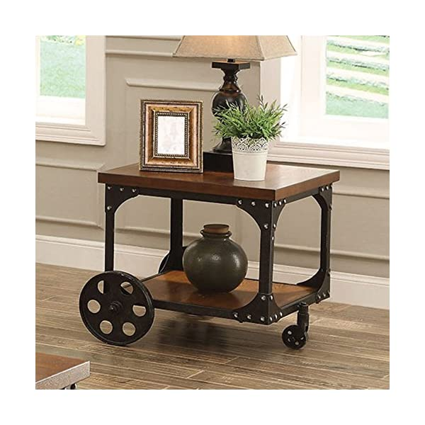 Coaster Furniture Wood End Table with Metal Casters 3