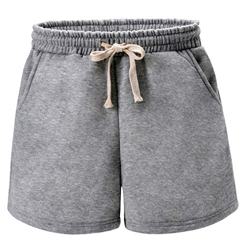 Women's Drawstring Elastic Waist Casual Comfy Fleece French Terry Bermuda Shorts with Pockets Grey Tag L-US ()