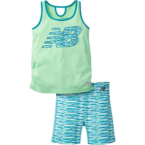 Price comparison product image New Balance Little Girls' Performance Tank and Bike Short, Agave/Ozone Blue, 6
