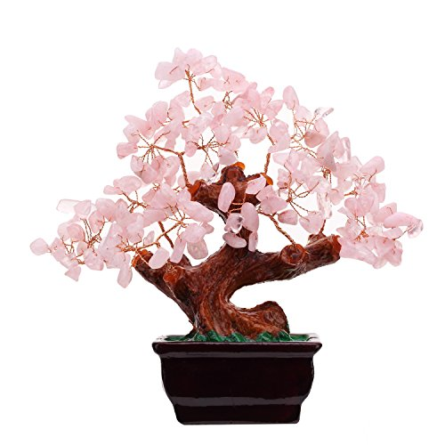 ui Natural Rose Quartz Crystal Money Tree Bonsai Style Decoration for Wealth and Luck ()