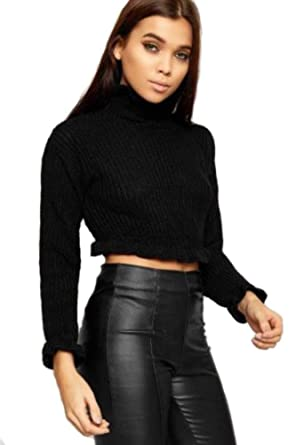 9218d42baba127 bliss Online New Womens Ladies Cable Knitted Frill Detail Turtle Neck  Cropped Jumper Crop TOP: Amazon.co.uk: Clothing