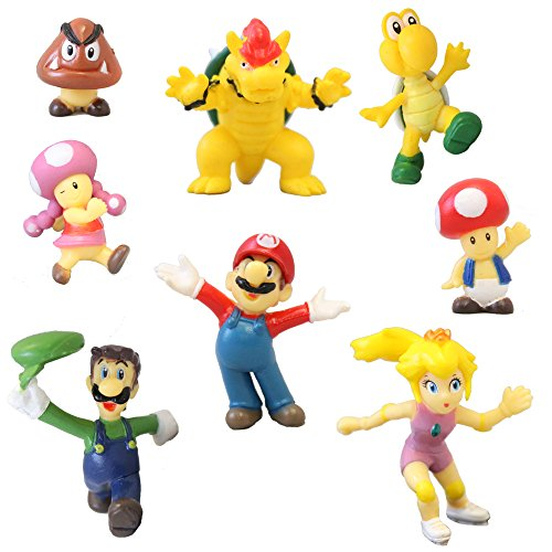 Price comparison product image 8 Super Mario Brothers Figures Cake Toppers 1-2 inch PVC Toys
