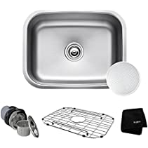 KRAUS Outlast MicroShield Scratch-Resist Stainless Steel Undermount Single Bowl Sink, 23  16 Gauge, Premier Series KBU12E
