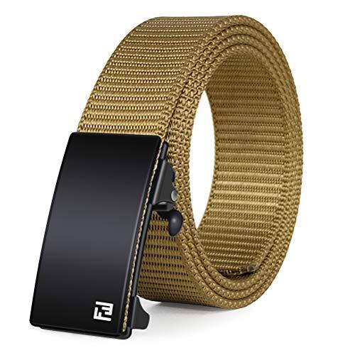 Fairwin Web Belt-Ratchet Belt-1.25 Inch Nylon Automatic Slide Belt-No Holes Belt