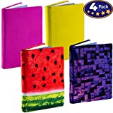 Jumbo, Stretchable Book Cover Color 4 Pack. Fits Most Hardcover Textbooks up to 9 x 11. Adhesive-Free, Nylon Fabric Protectors are A Needed School Supply for Students. (Bright 1)