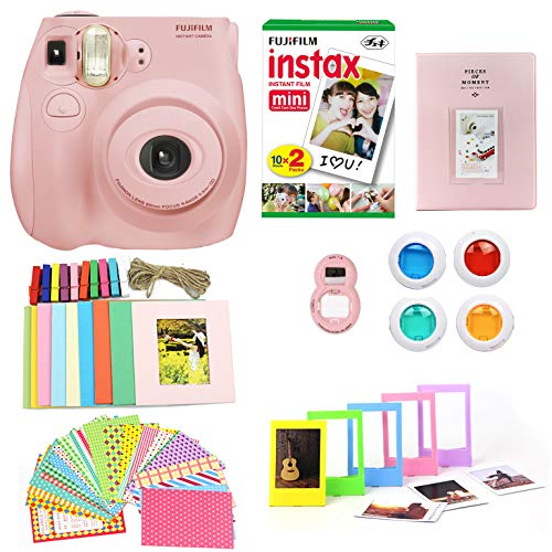 Fujifilm Instax Mini 7S Camera + Photo Accessories Bundle  Instant Camera w Fun + Colorful Album, Stickers, Frames, Close Up Lens & Color Filters (Light Pink)(Renewed)