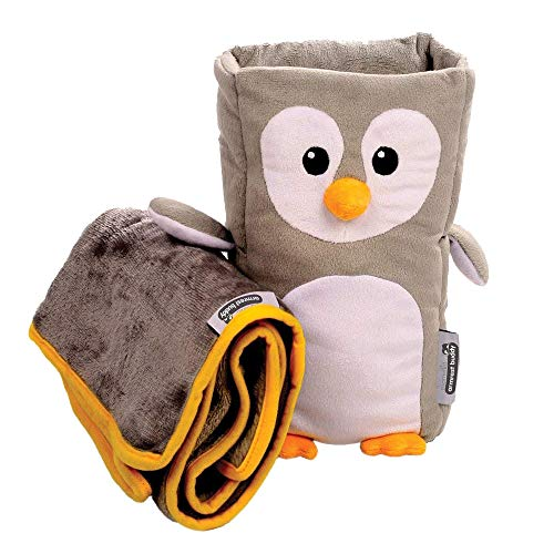 Armrest Set - Kids Travel Pillow and Travel Blanket set - 'Tux' Armrest Buddy Transforms Any Armrest Into a Comfy Childs Pillow