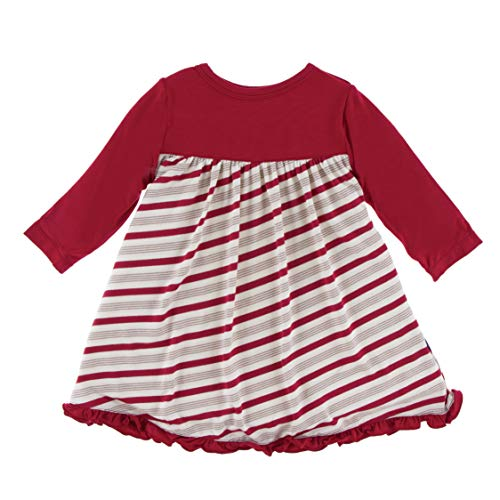 Kickee Pants Classic Long Sleeve Swing Dress - Rose Gold Candy Cane Stripe, 6-12 Months
