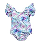 BANGELY Toddler Kids Girls Colorful Fish Scale Print Ruffles Sleeve One-Piece Swimwear Swimsuit Size 6-12Months (Purple)
