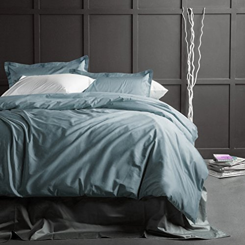 - Solid Color Egyptian Cotton Duvet Cover Luxury Bedding Set High Thread Count Long Staple Sateen Weave Silky Soft Breathable Pima Quality Bed Linen (King, Stormy Sea)