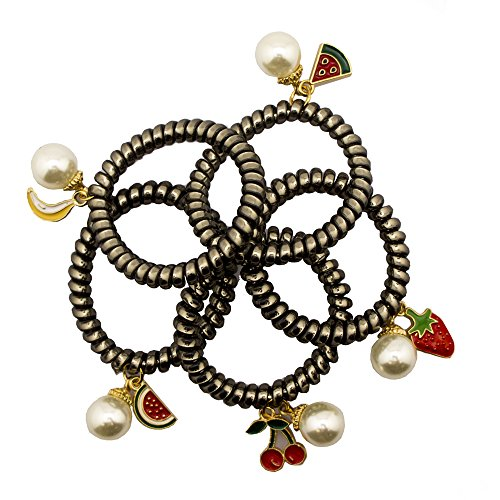 HAND Elegant Elasticated Dark Metallic Silver Hair Band with Pearl Bead and 5 Funky Charm Designs - 45 mm Diameter Unexpanded - Pack of 5 (Cornrows And Beads)