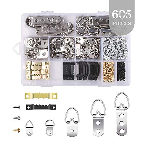 Picture Hanging Kit, 605 Piece Picture Frame Hanging Kit with 7 Models of Heavy Duty Picture Hangers and Screws for Home Decoration Creative Picture Hanging